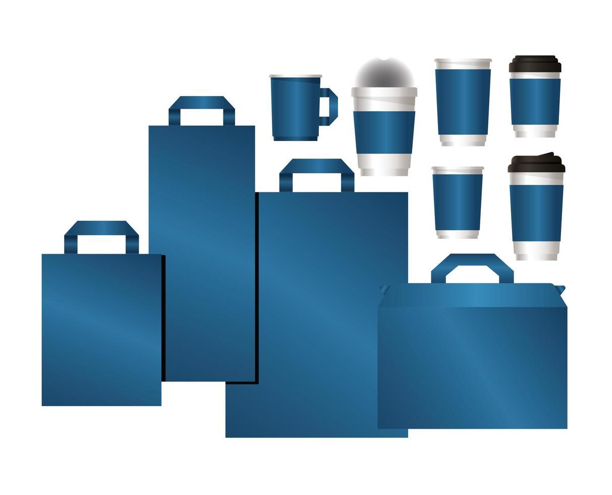 juego de maquetas de bolsas y tazas con marca azul vector