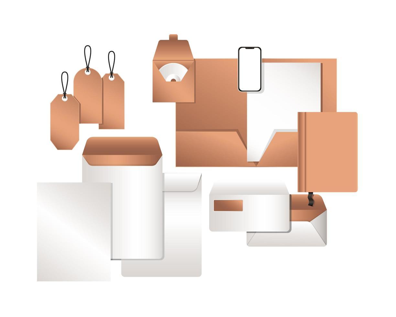 maqueta de smartphone y diseño de conjunto de identidad corporativa vector