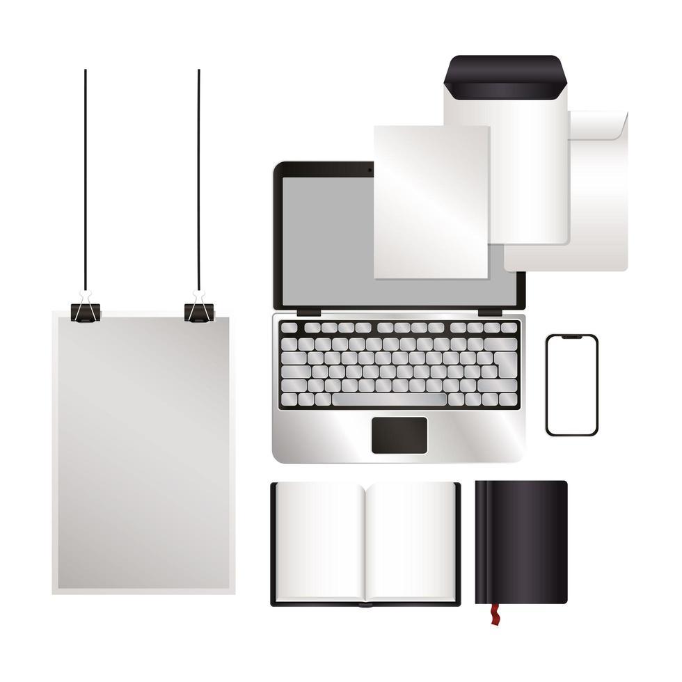 maqueta de portátil y conjunto con diseño de marca negro vector