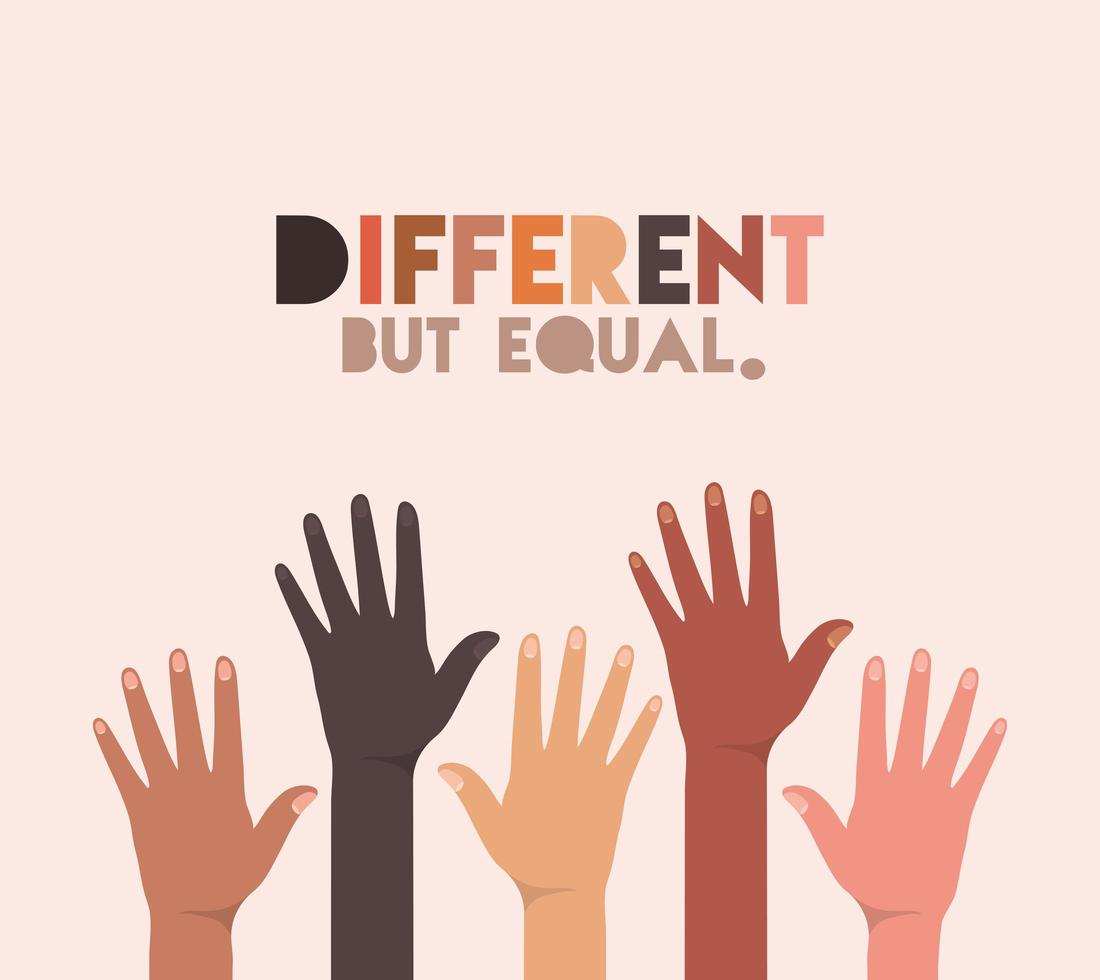 Different but equal and diversity skins design vector