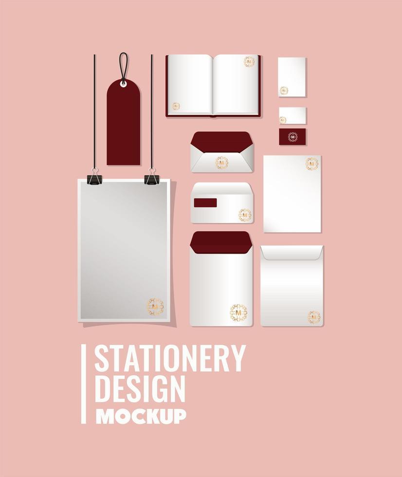 Mockup set with dark red branding design vector