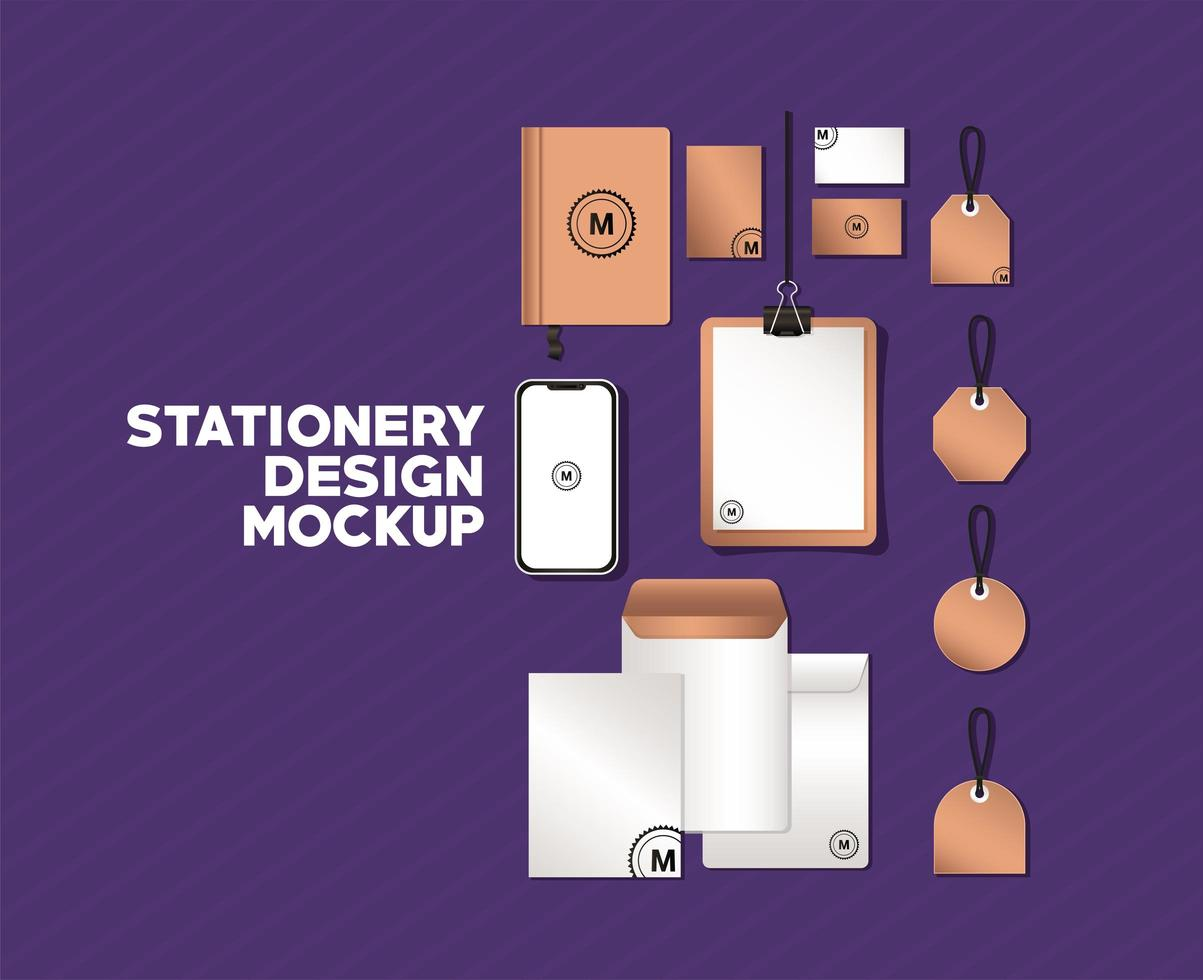 smartphone and branding mockup set vector design