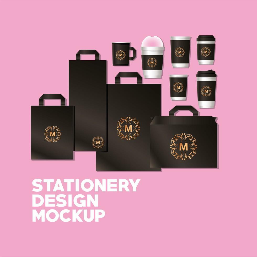 Bags and mugs mockup set with dark brown branding vector