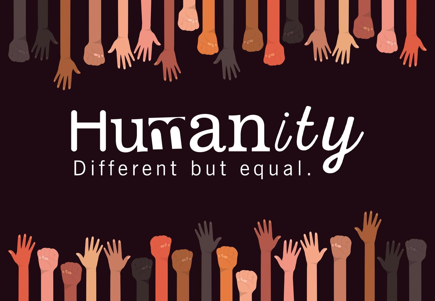 Humanity different but equal and diversity hands vector