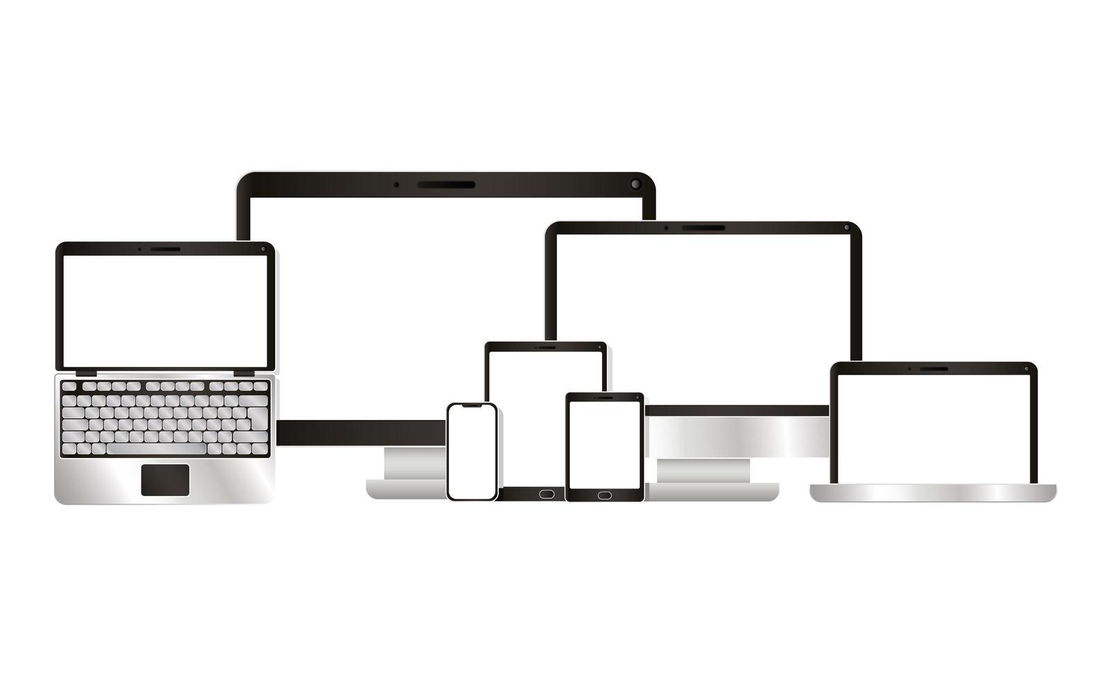 Diseños vectoriales de computadora portátil tableta y teléfono inteligente vector