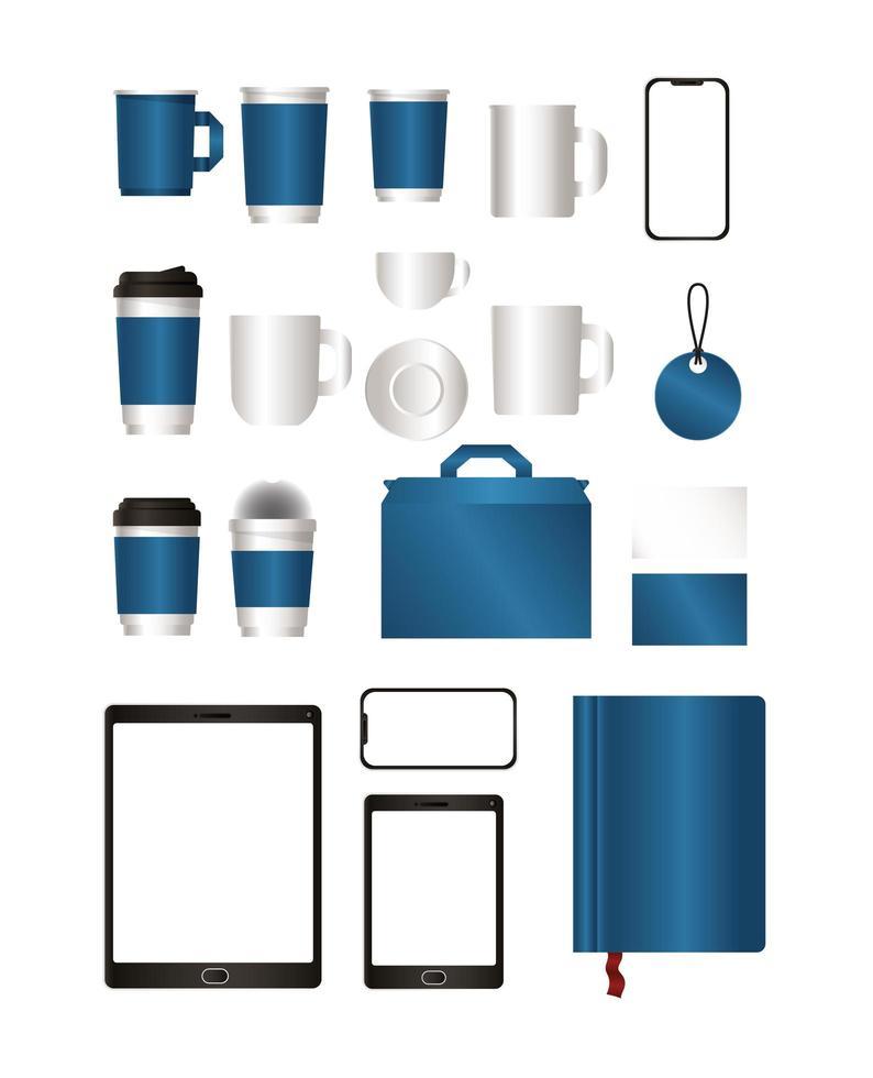 Modell mit blauem Branding-Design vektor
