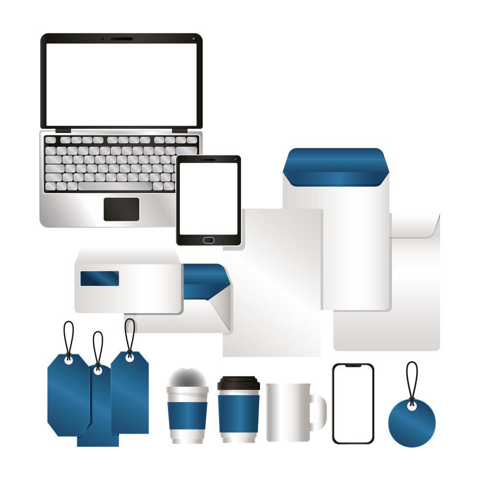 Mockup set with blue branding design vector