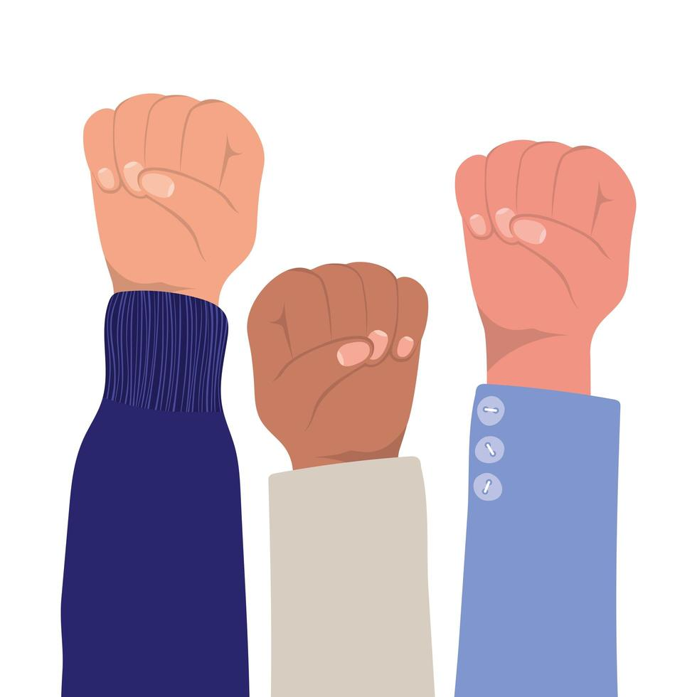 Fist sign with hands of different types of skins vector