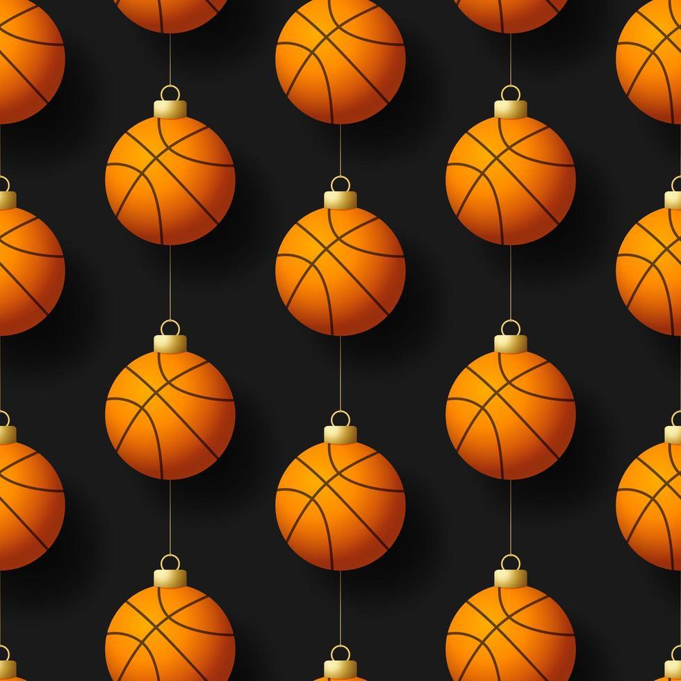 Navidad adornos de baloncesto colgantes de patrones sin fisuras vector