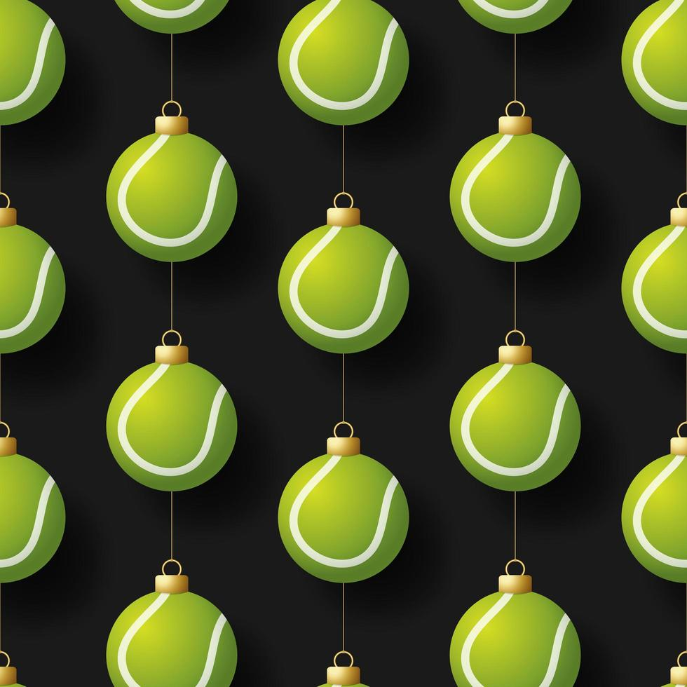 Navidad colgando adornos de pelota de tenis de patrones sin fisuras vector