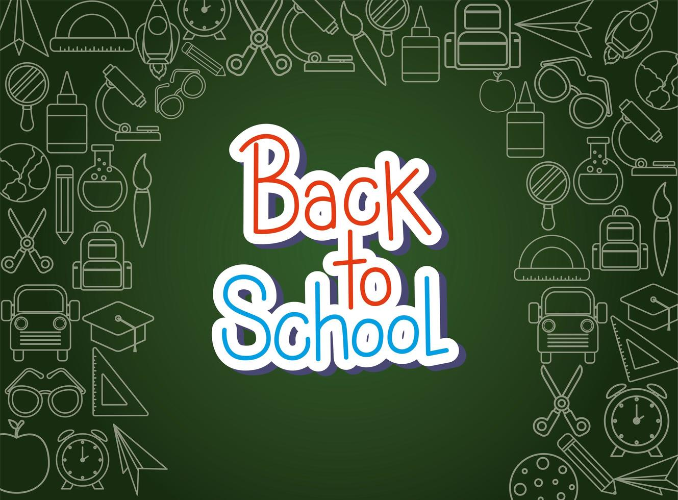 Chalk icon set of back to school board vector