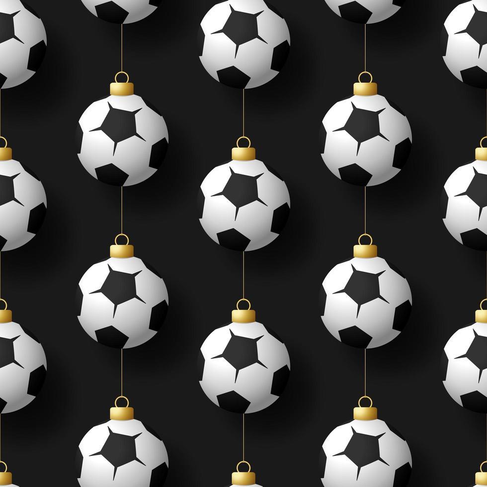 Navidad colgando adornos de balones de fútbol o fútbol de patrones sin fisuras vector