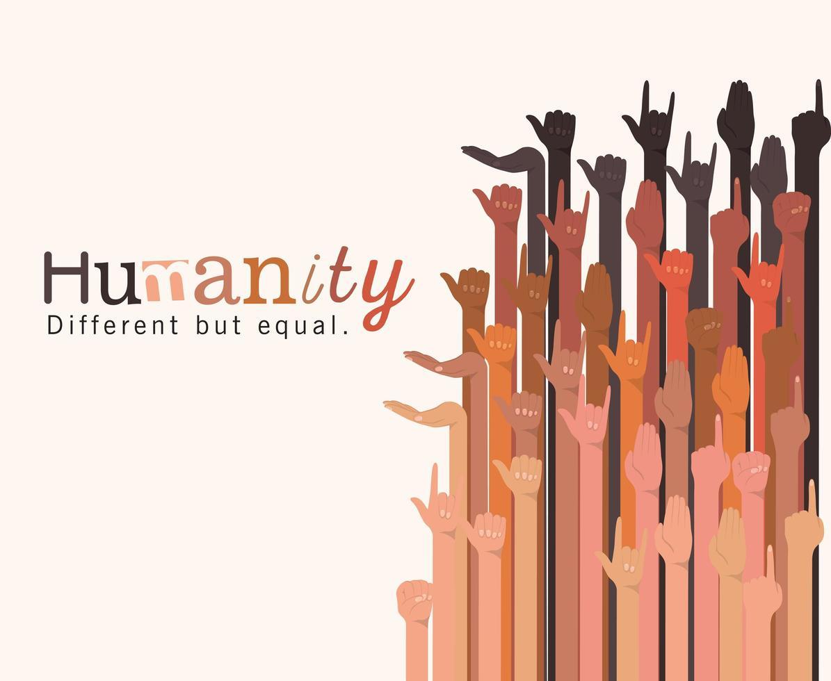 humanidad diferente pero igual y diversidad de manos vector