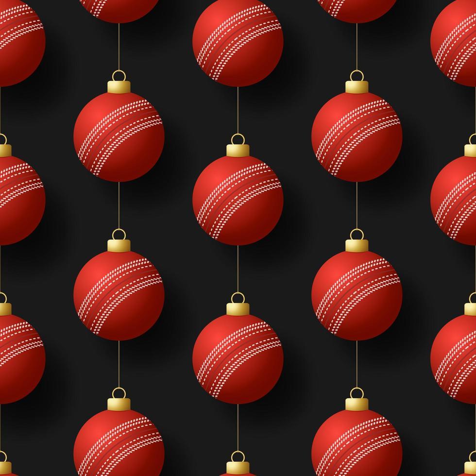 adornos de bolas de cricket colgantes de navidad vector
