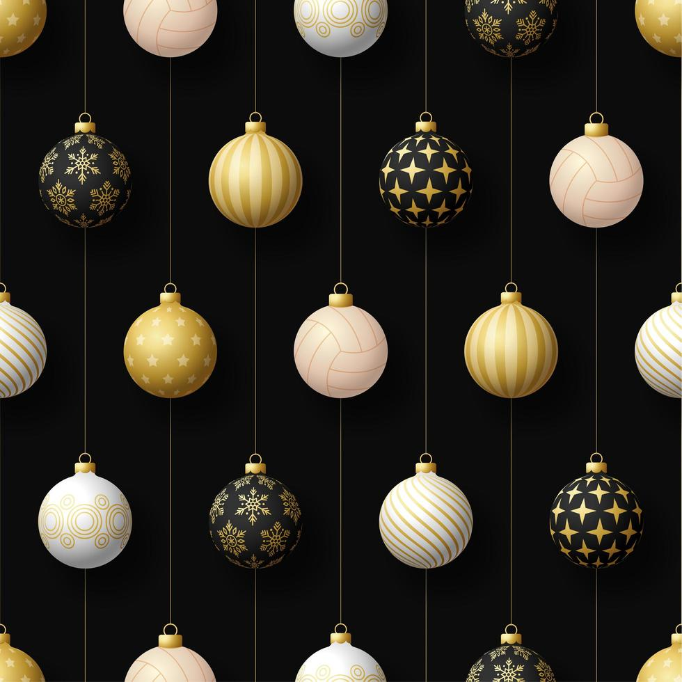 Christmas hanging ornaments and volleyball seamless pattern vector