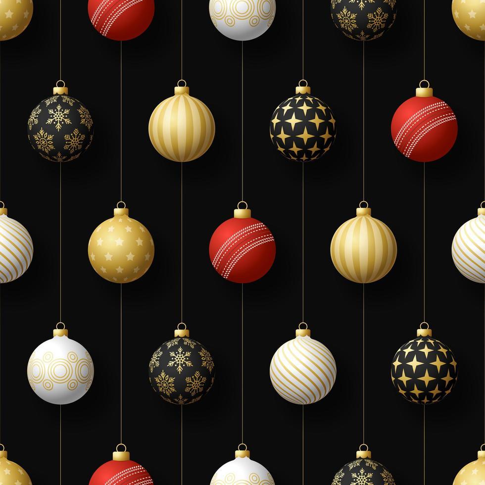 adornos navideños colgantes y pelota de cricket de patrones sin fisuras vector