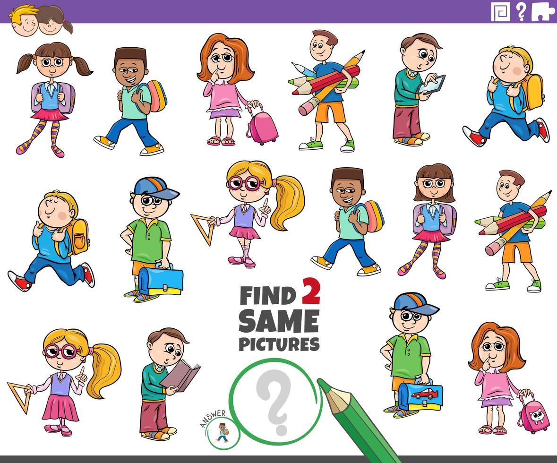 encontrar dos mismos alumnos tarea de personajes infantiles vector