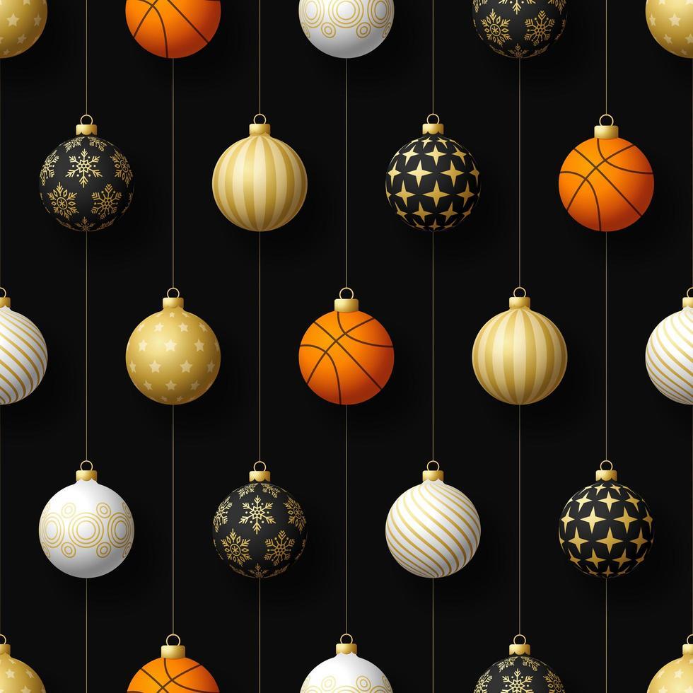 adornos navideños colgantes y patrones sin fisuras de baloncesto vector