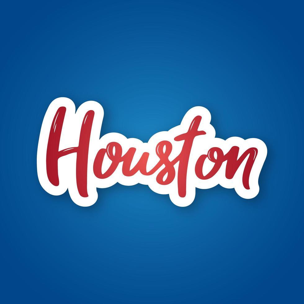 letras dibujadas a mano de houston en degradado vector