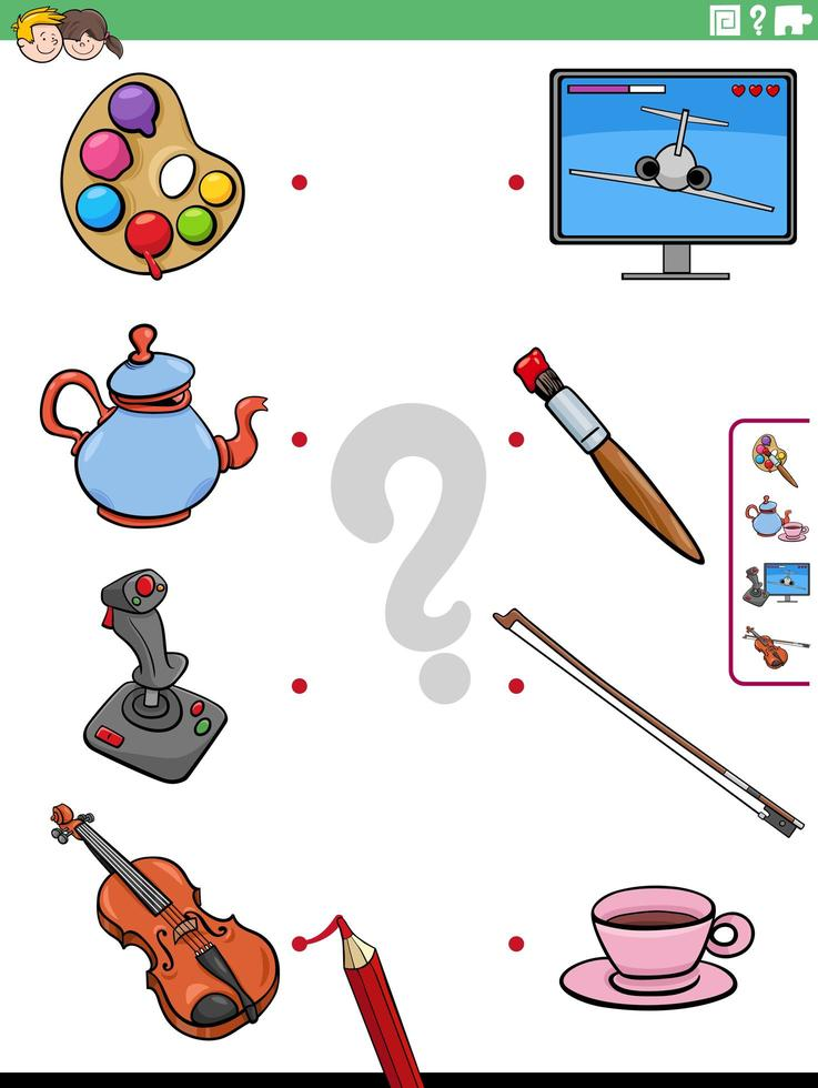 Match objects educational game for children vector