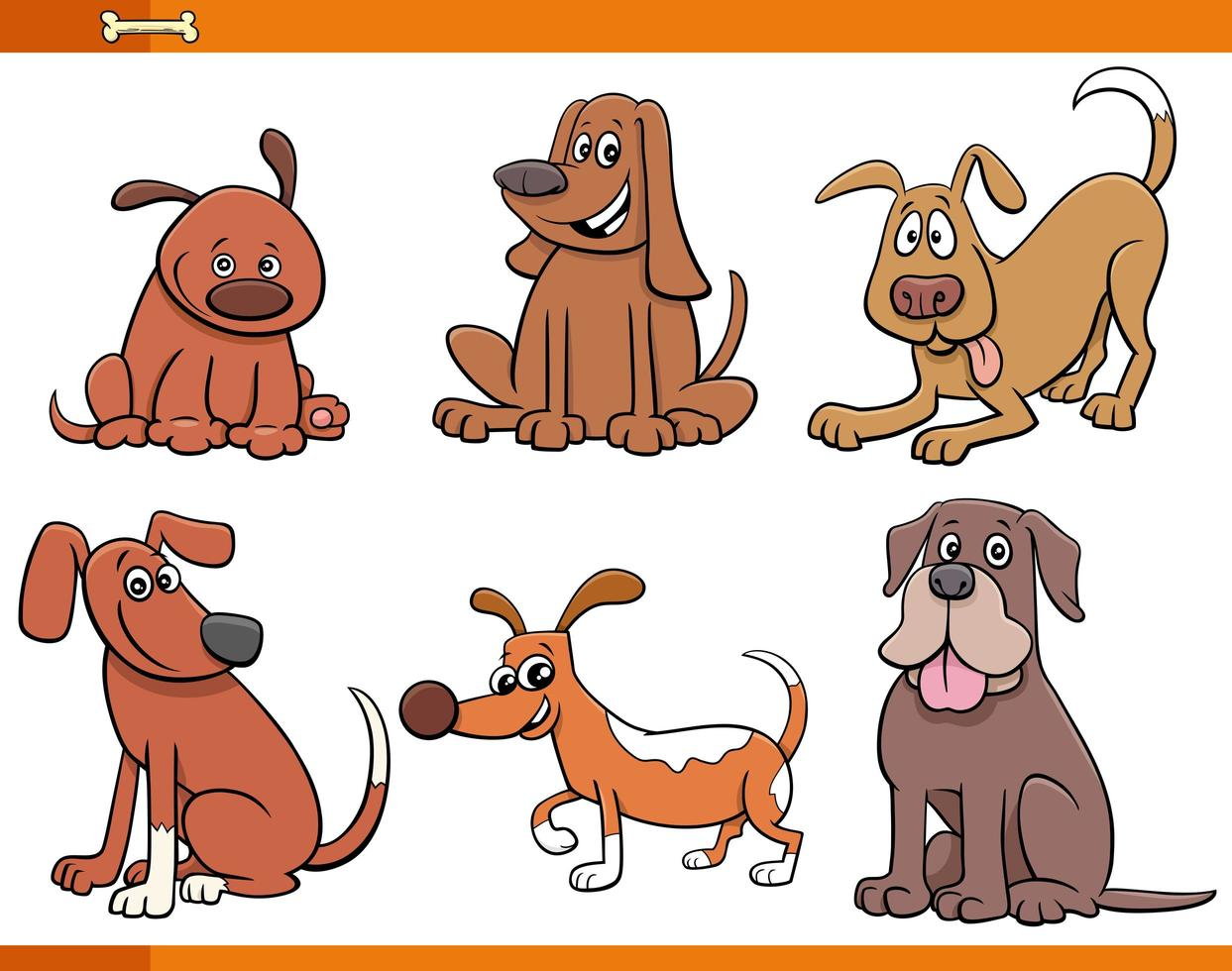 Dogs and puppies cute animal characters set vector