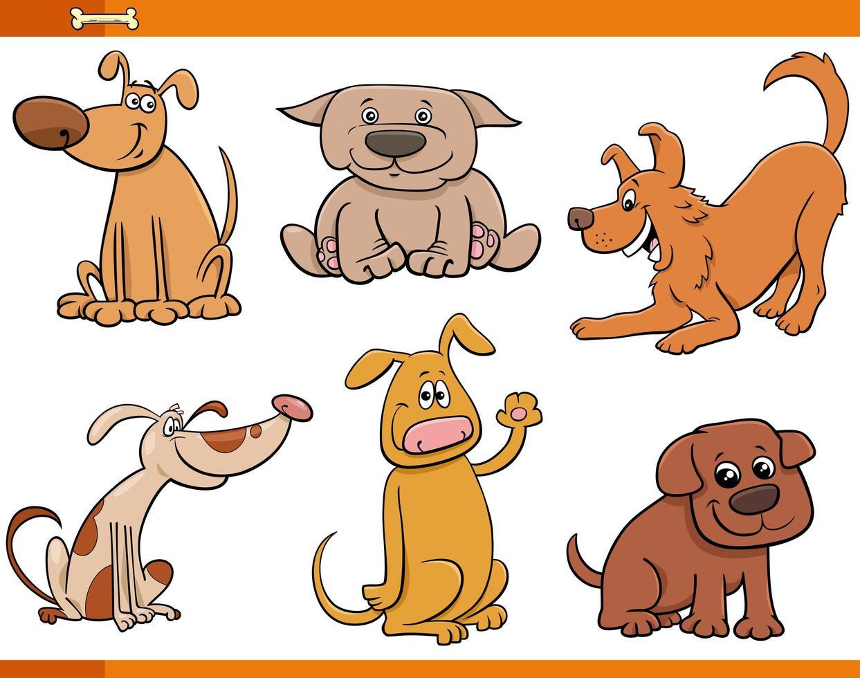 perros y cachorros conjunto de personajes de animales lindos vector
