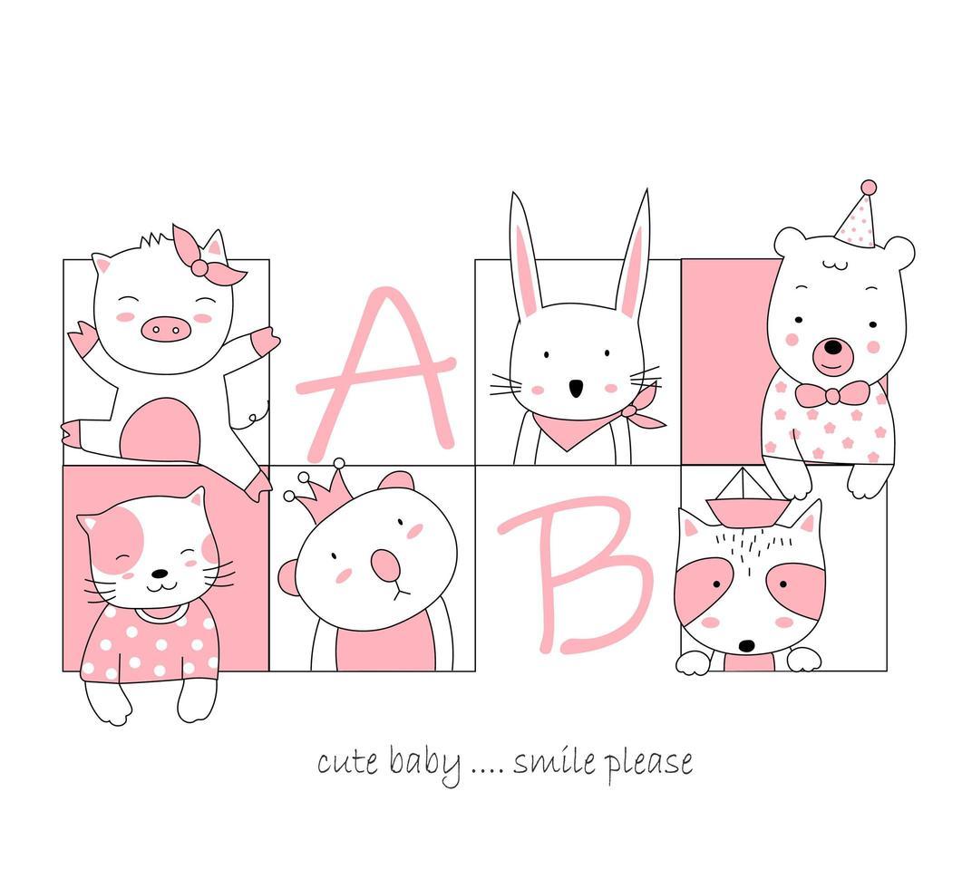 dibujados a mano lindos animales bebé en marcos cuadrados vector