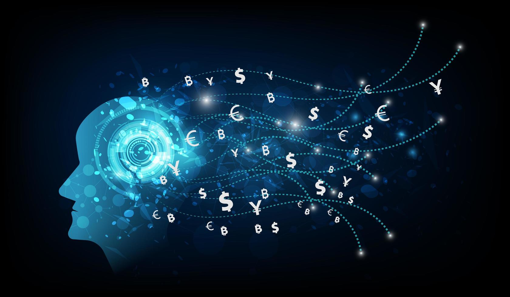 Abstract artificial intelligence. Money transfer. vector