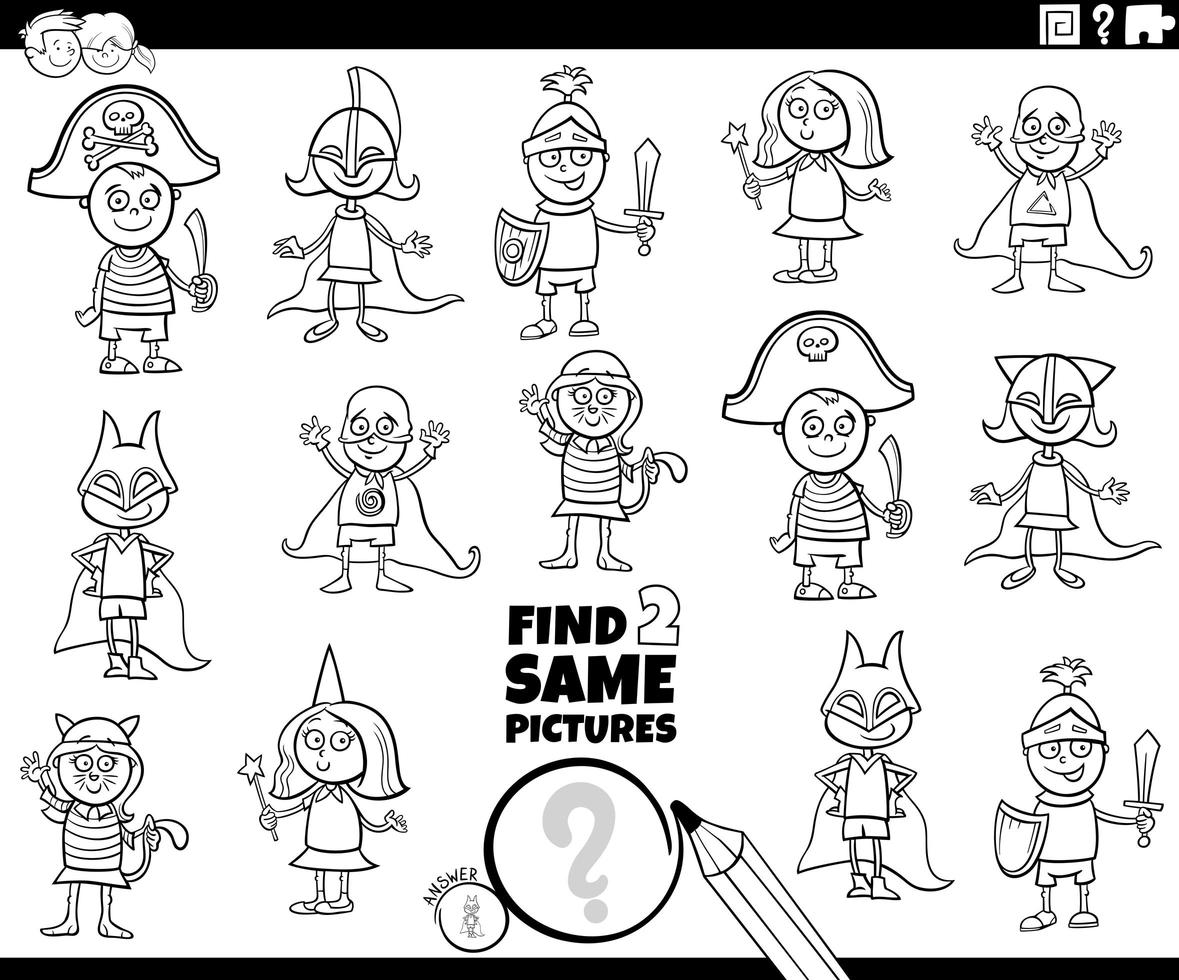 Find two same kids characters color book page vector
