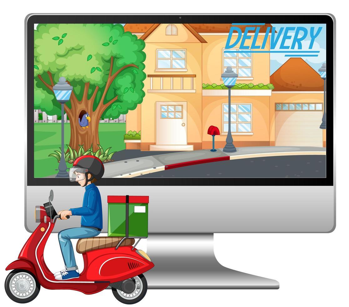 Computadora con hombre en bicicleta o mensajero y logotipo de entrega vector
