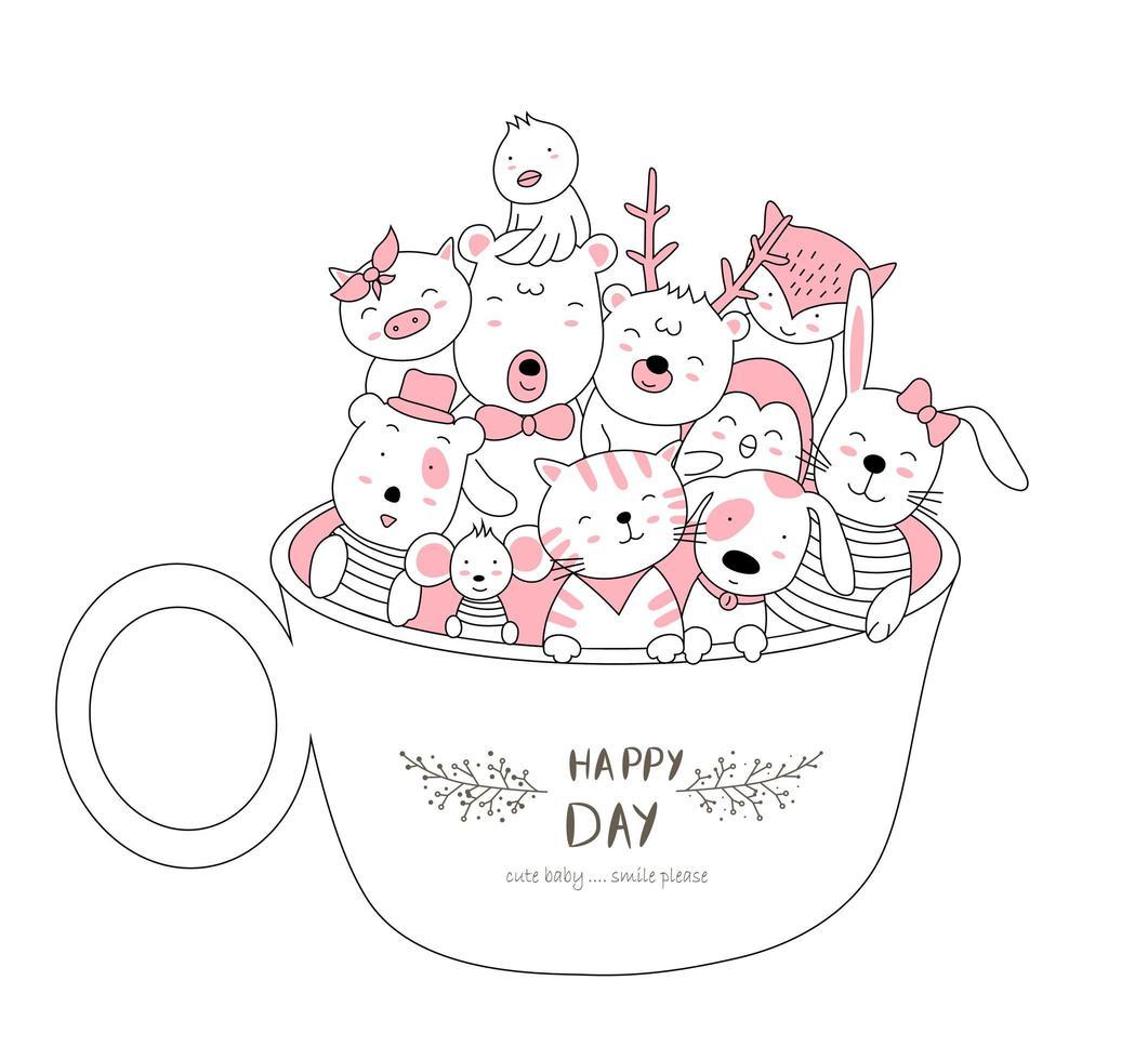 Cute baby animals in cup vector
