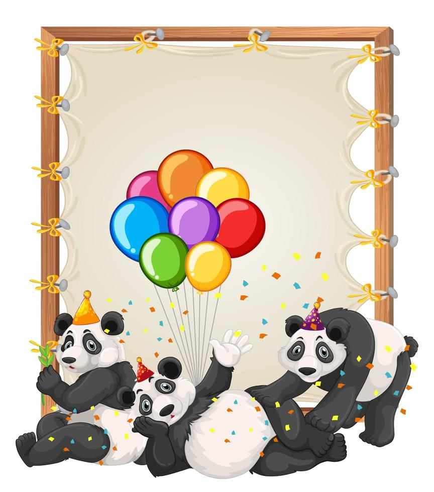 Plantilla de marco de madera de lienzo con pandas en tema de fiesta aislado vector