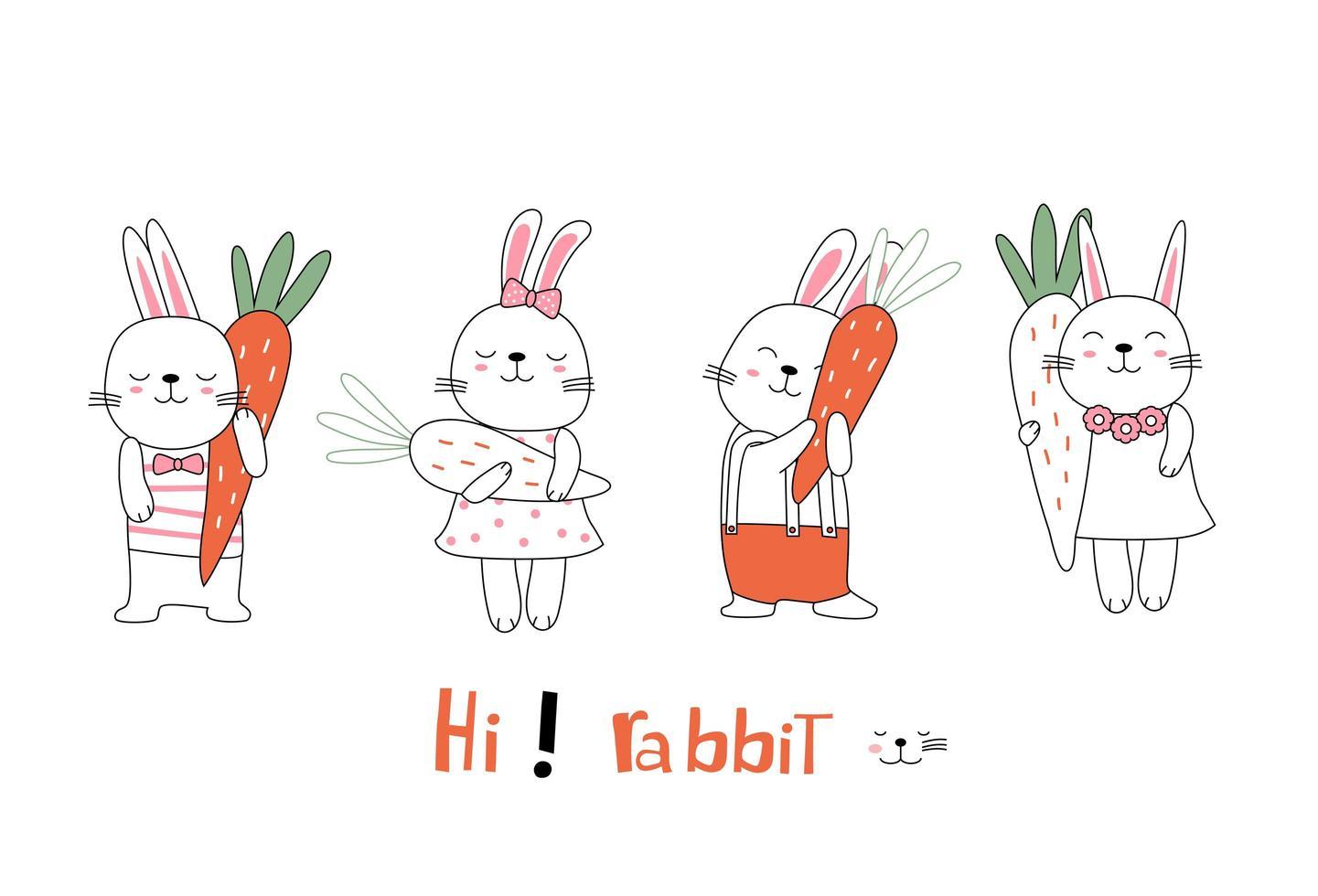 dibujado a mano linda postura conejitos con zanahorias vector