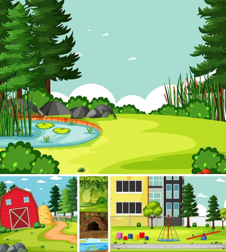 cuatro diferentes escenas de la naturaleza del estilo de dibujos animados de la ciudad y el jardín vector