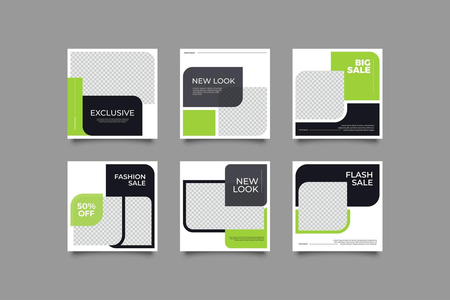 publicación de redes sociales verde te, plato vector