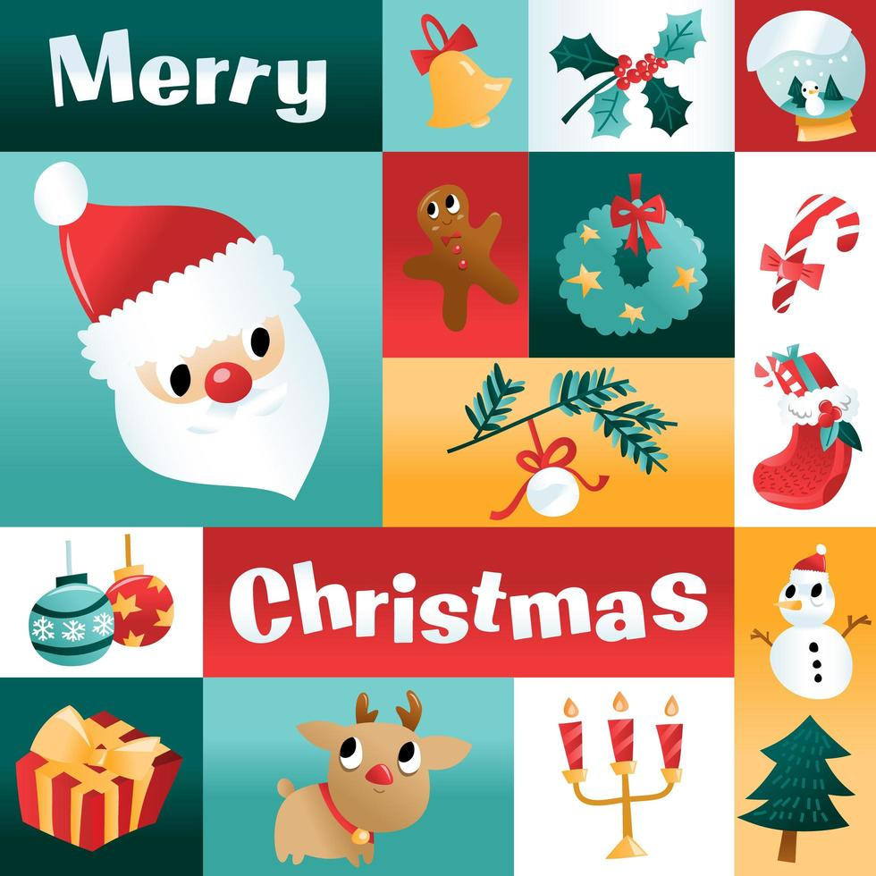 Fun Cartoon Christmas Holiday Mosaic Decoration vector