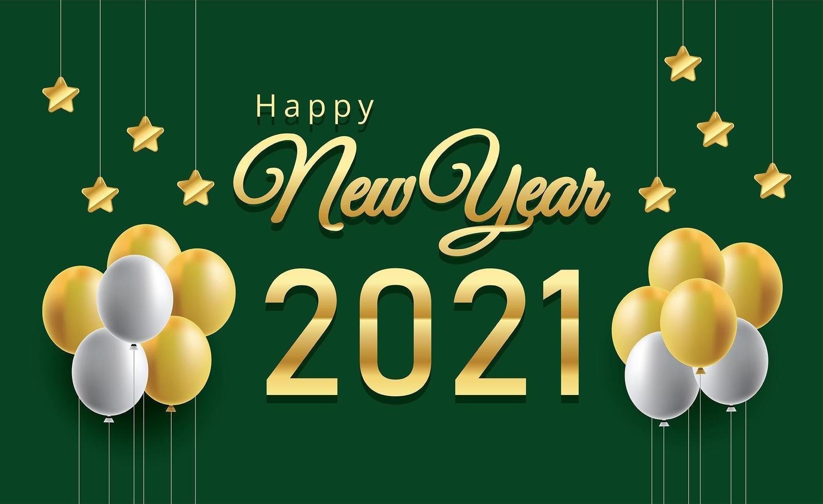 feliz año nuevo globos y números de metal dorado vector