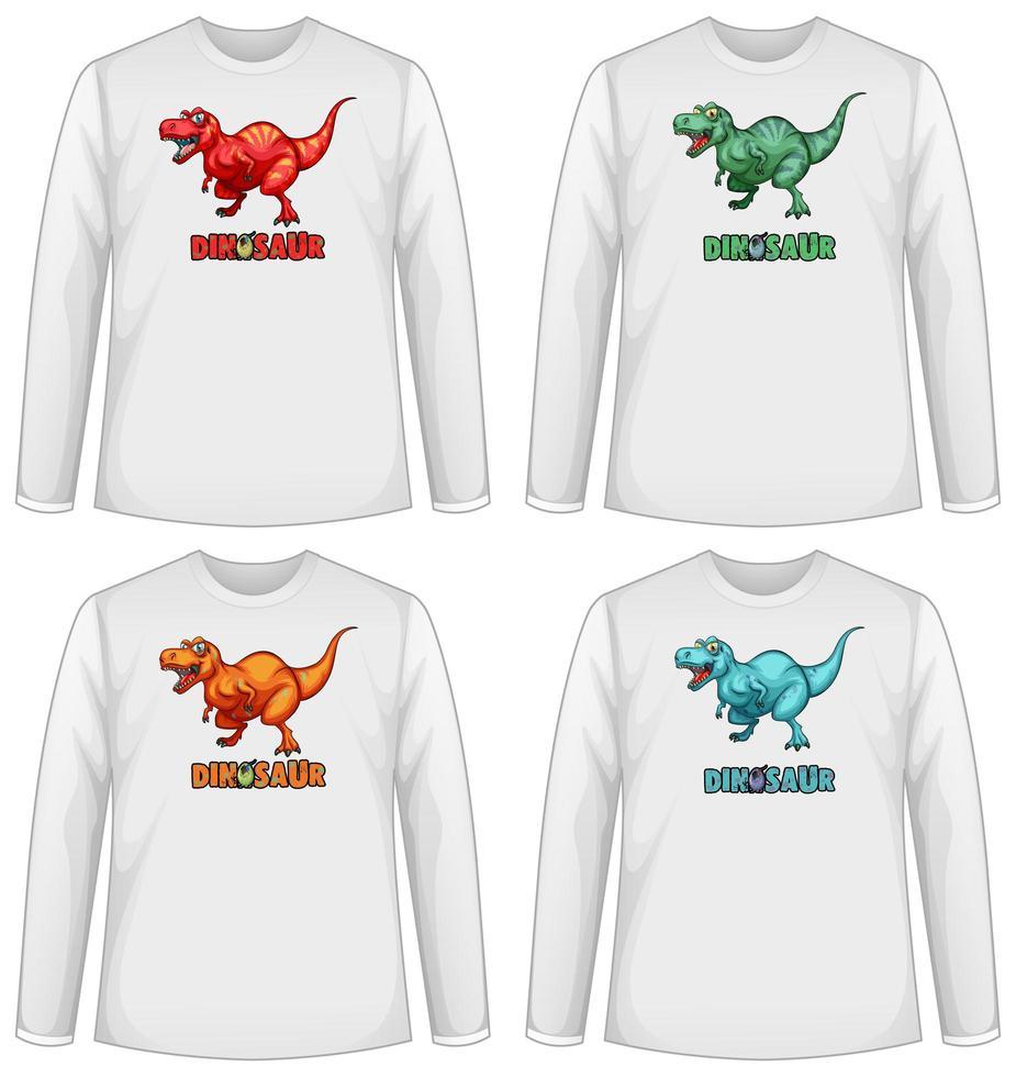 conjunto de pantalla de dinosaurio de diferentes colores en una camiseta de manga larga vector
