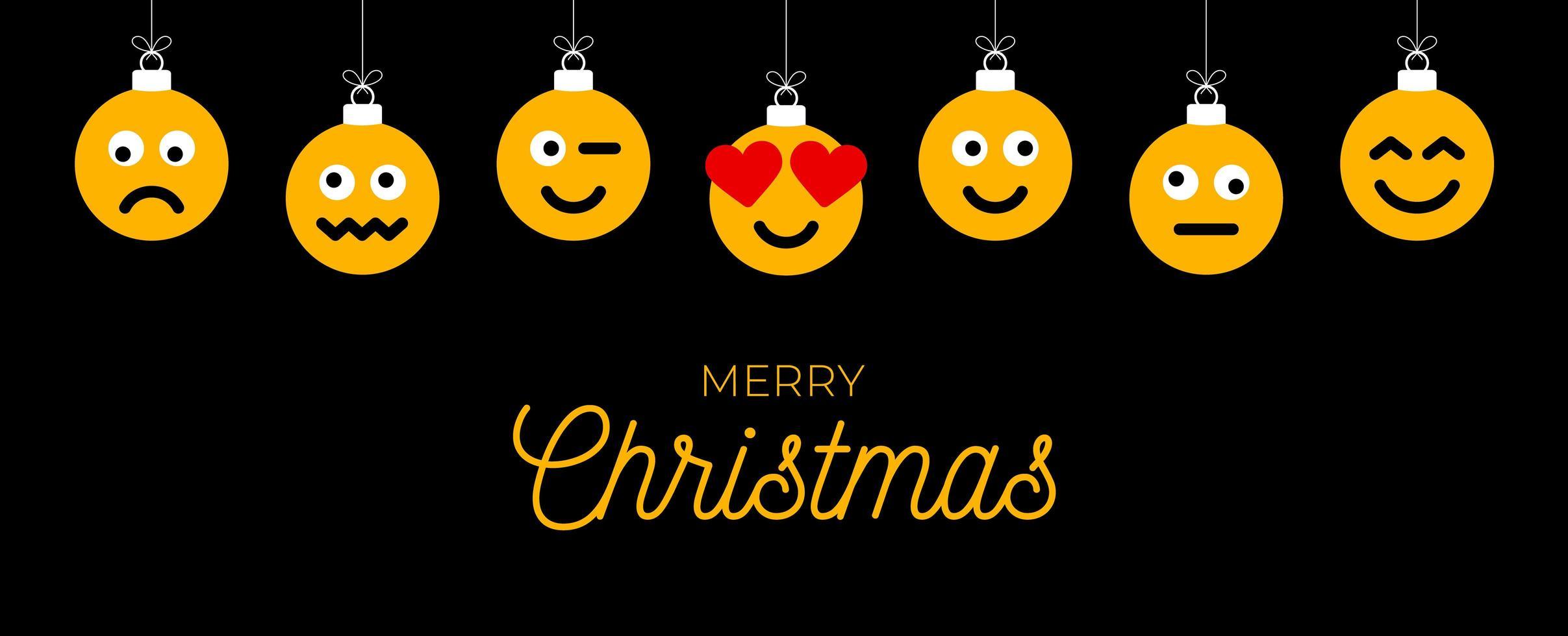 saludo navideño con adornos de cara emoji vector
