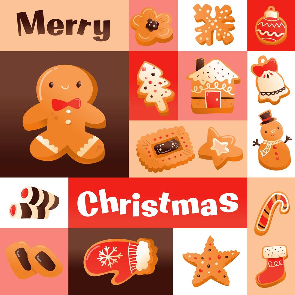 Super Cute Gingerbread Christmas Cookies Mosaic Decoration vector