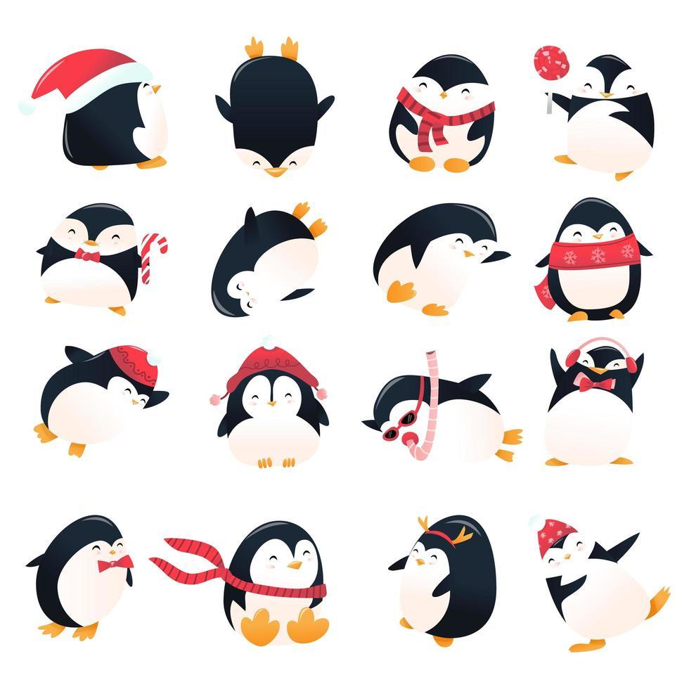 conjunto de pingüinos de vacaciones de dibujos animados super lindo vector