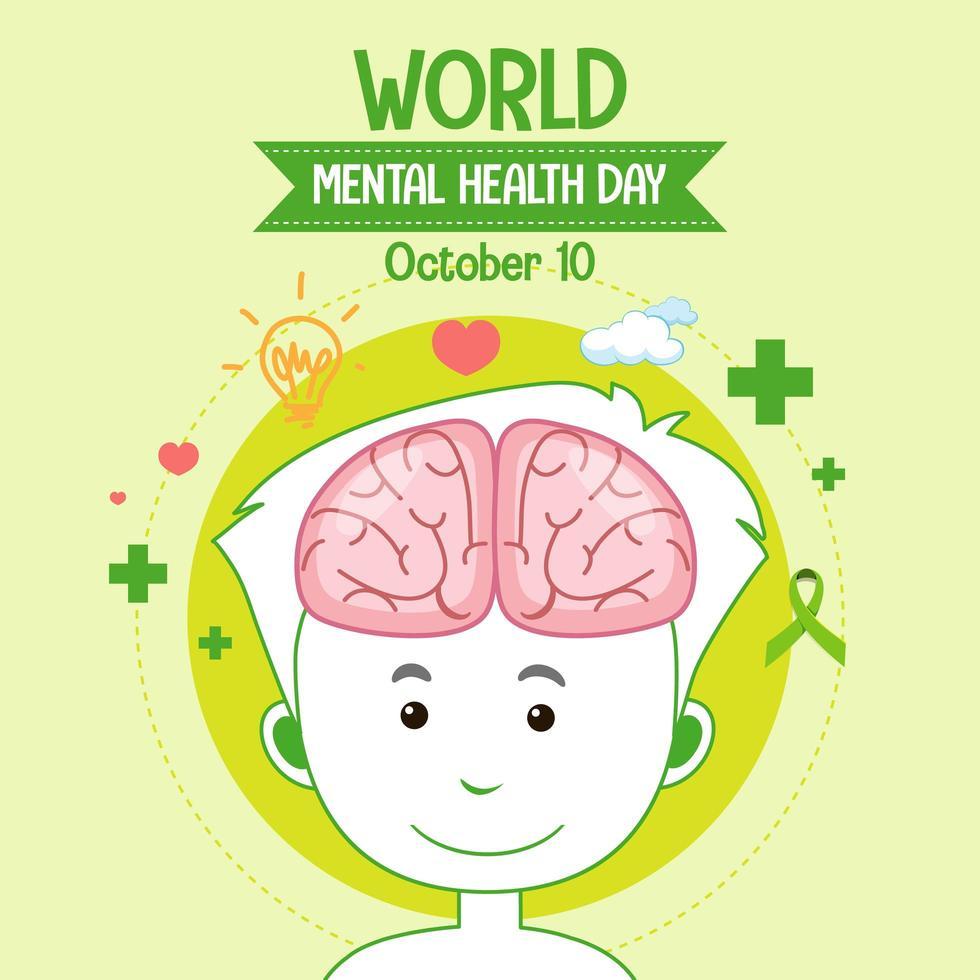 icono del día mundial de la salud mental vector