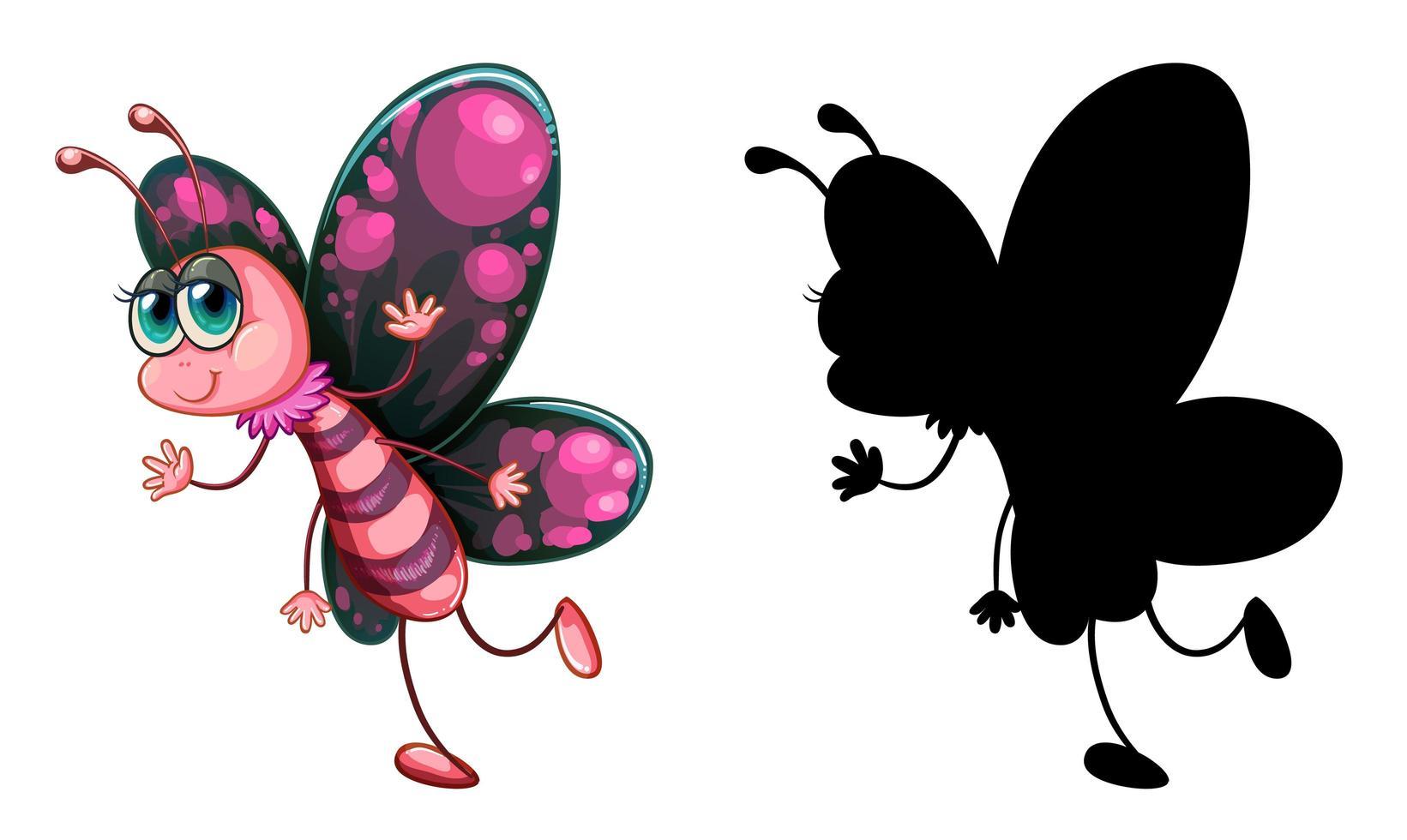 Conjunto de personaje de dibujos animados de insectos y su silueta sobre fondo blanco. vector