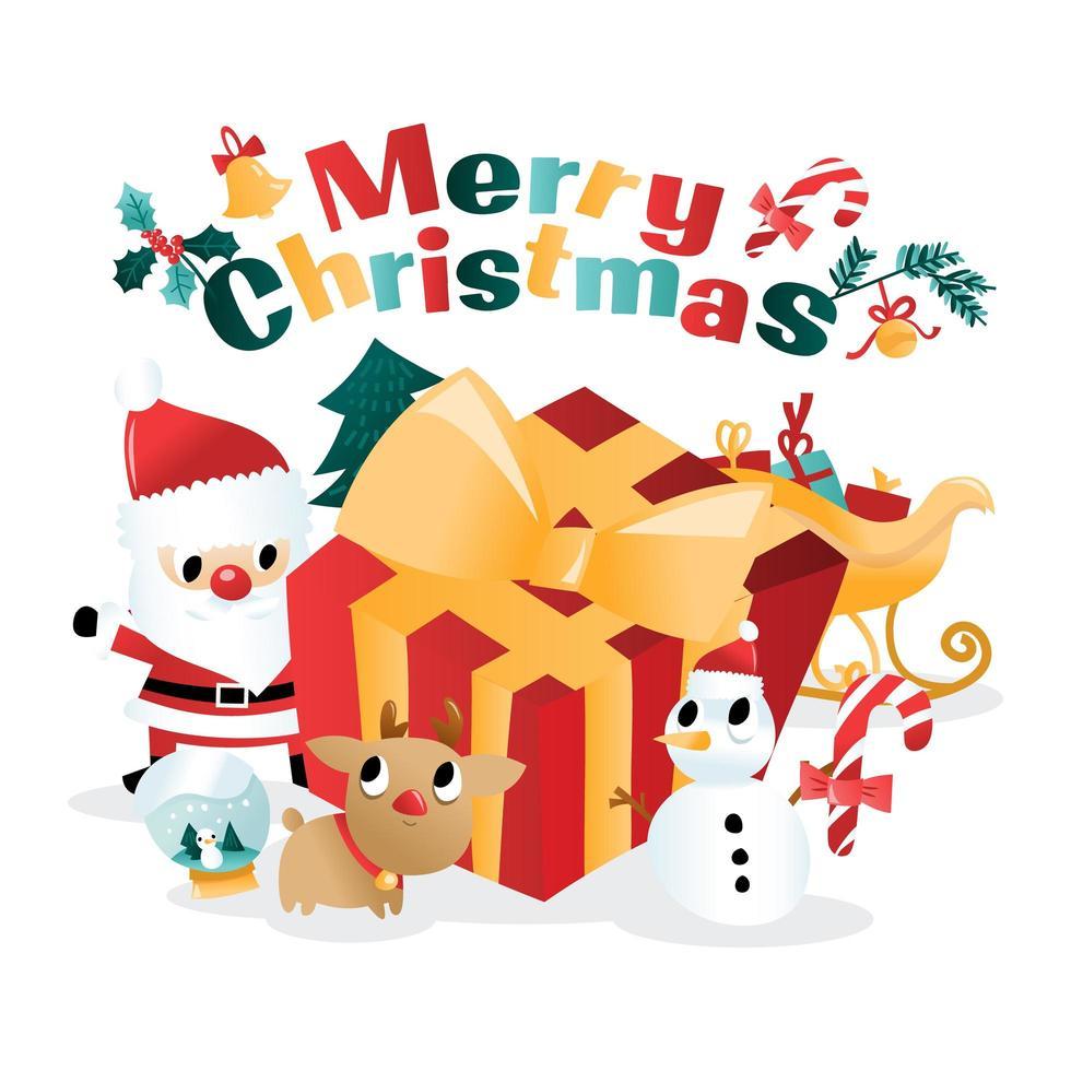 divertido feliz navidad regalo gigante santa dibujos animados vector