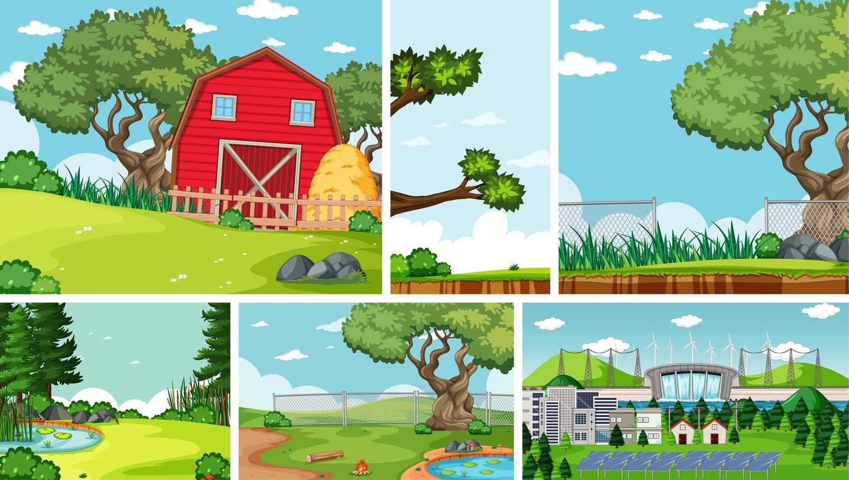 seis escenas de la naturaleza con diferentes ubicaciones. vector