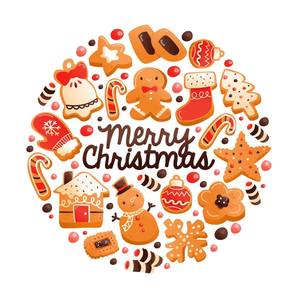 Super Cute Gingerbread Christmas Cookies Round Decoration vector