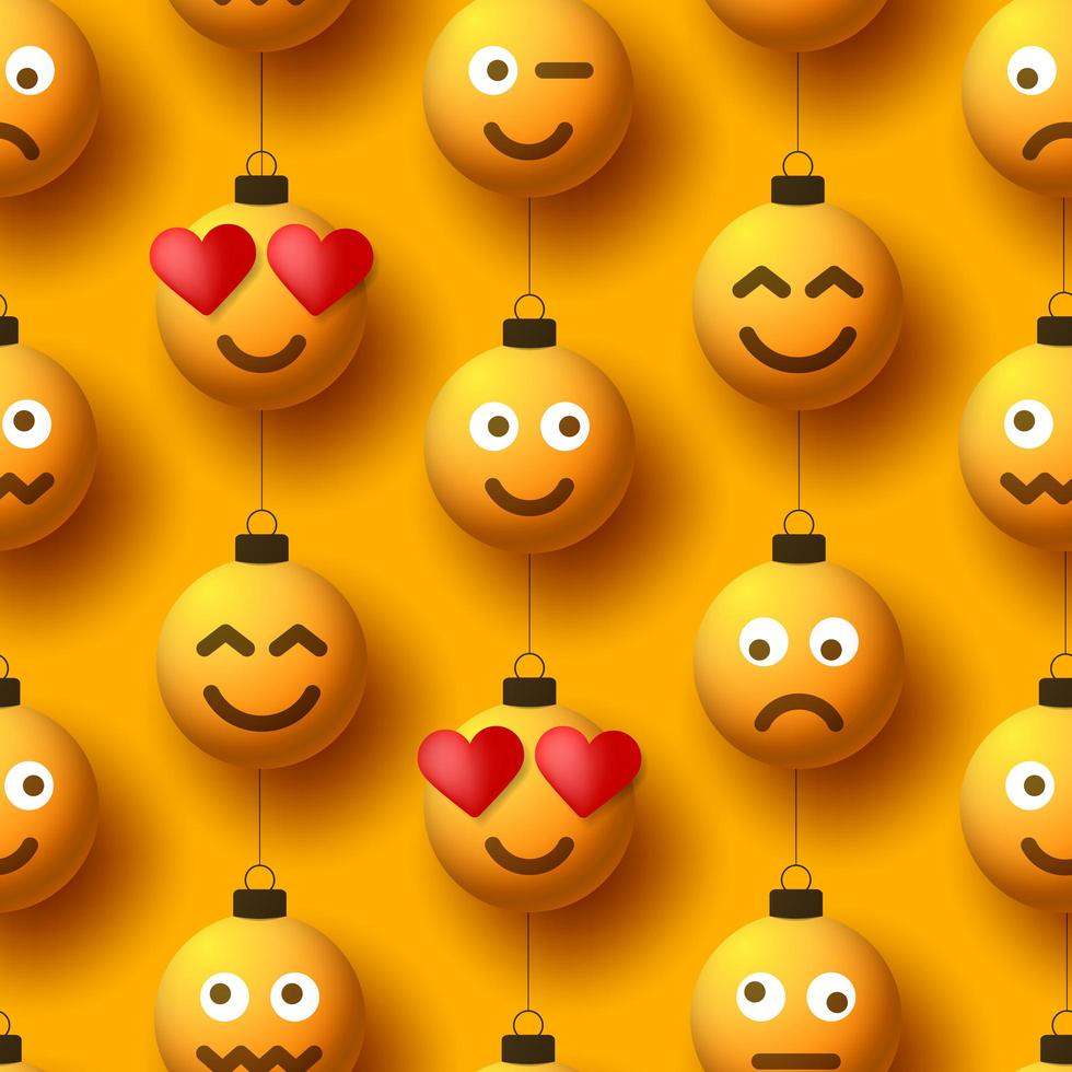 emoji amarillo bola de navidad adornos de patrones sin fisuras vector