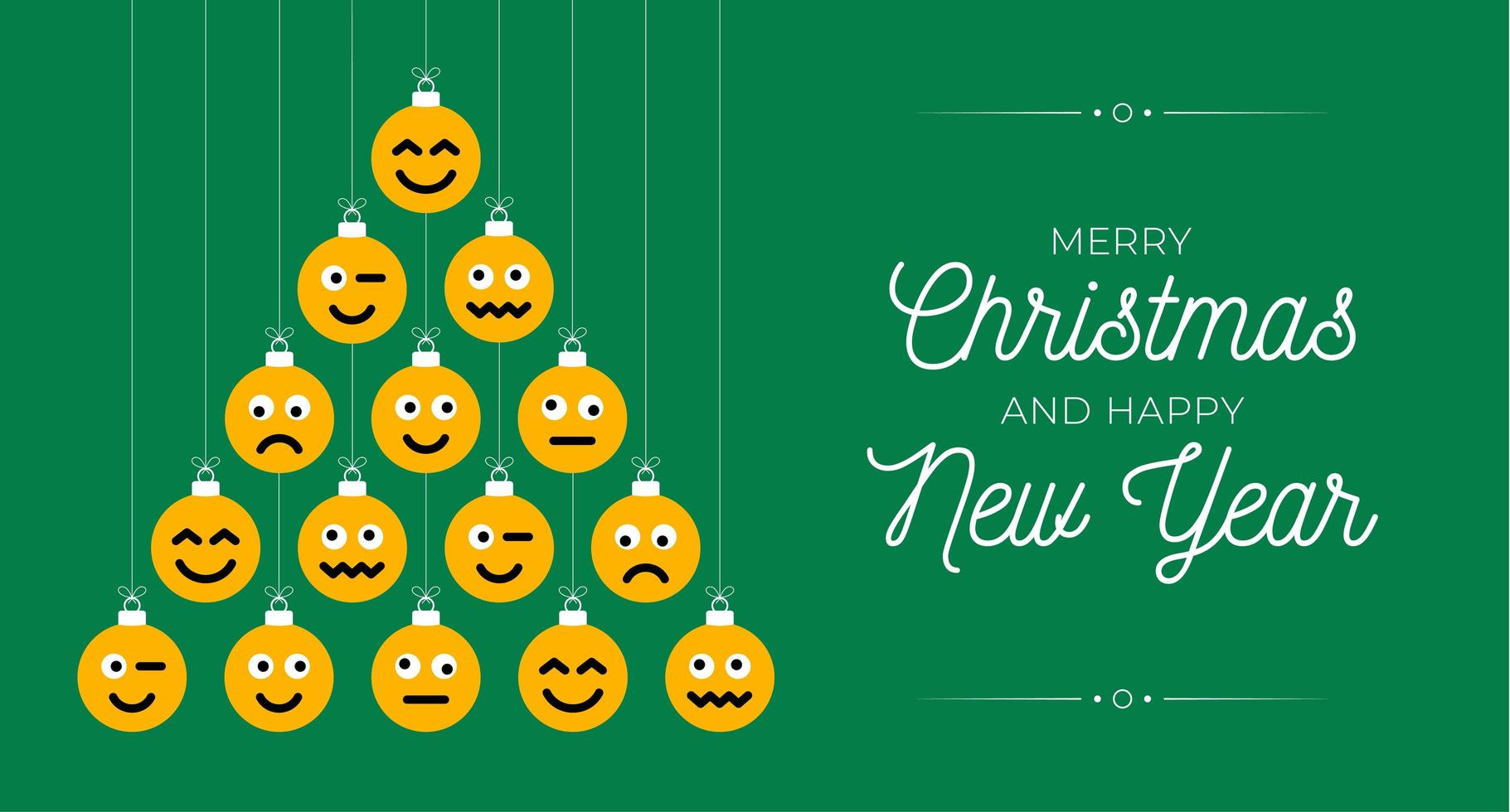 Creative Christmas tree made of face emoji ornaments vector