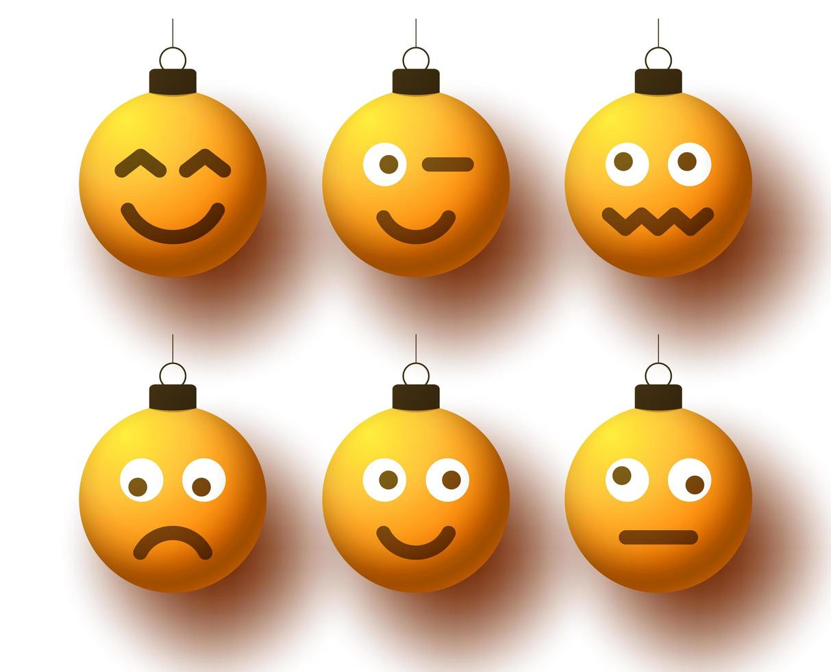 Realistic Christmas yellow emoji balls with cute faces vector