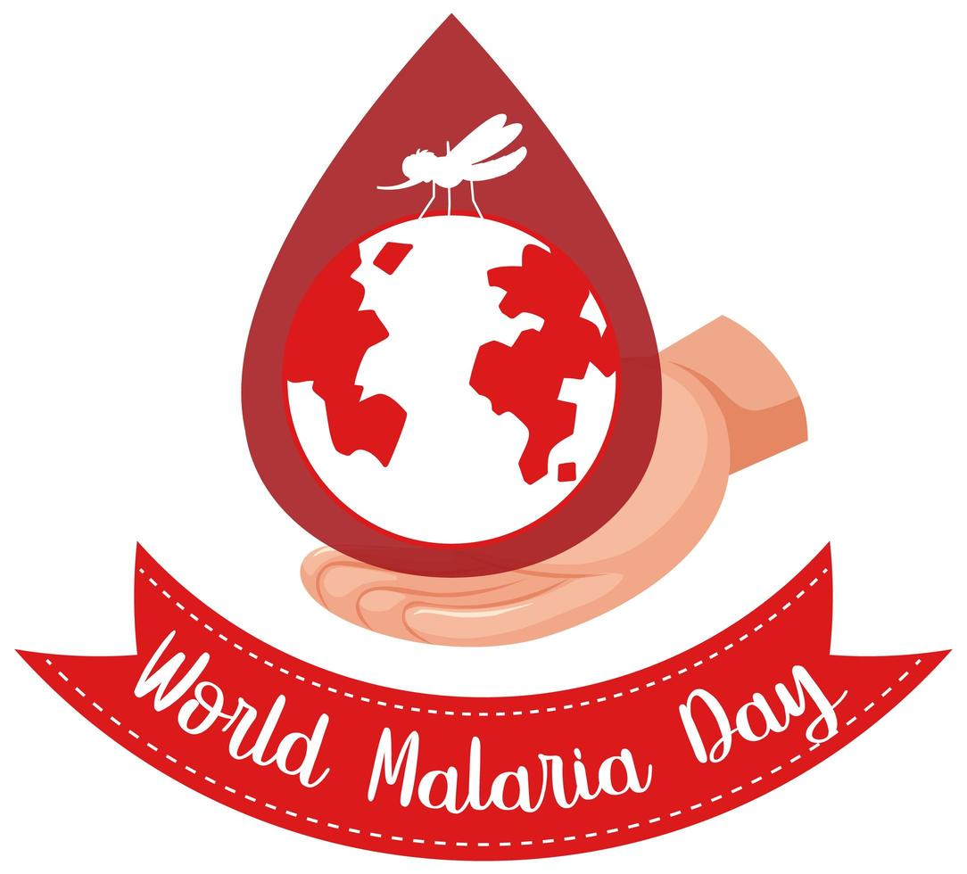 logotipo del día mundial de la malaria o pancarta con mosquitos y la tierra sobre fondo de gota de sangre vector
